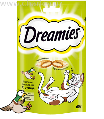 Dreamies Лакомство для кошек подушечки с уткой. 60гр